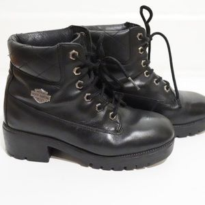 HARLEY DAVIDSON BLACK LEATHER QUILTED MOTO BOOT
